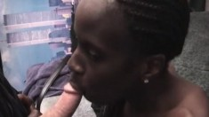 Some nasty black pussy gets dicked hard and fast by a white guy