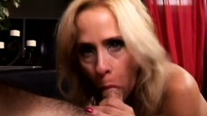 Chubby blonde MILF has multiple orgasms riding a big fat dick