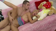 Barely legal blonde with curly hair gets an orgasm from her BF