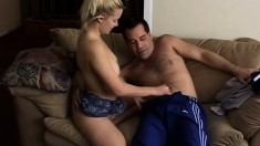 Misty Parks gets her pussy eaten before she rides his old cock