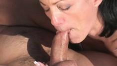 Playful brunette milf Jessica Cummings sucks and fucks a cock outside