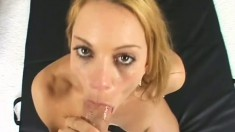 Busty blonde Kirra Lynne rides a huge hard cock down to the balls