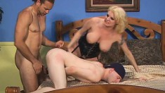 Bisexual Bros and a blonde in a corset have a bareback threesome
