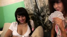 Enticing babes strip off their clothes and please each other's pussies