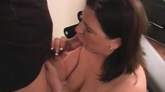 Naughty girl Haley delivers a deep blowjob and enjoys a good spanking