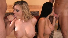 Two voluptuous beauties getting drilled rough together on the couch