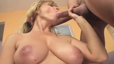 Bodacious Nicole Moore puts on her sexy stockings and fucks a hung guy