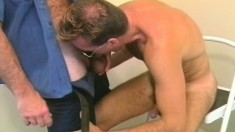 Rob gets down on his knees and offers his gay lover a sensual blowjob