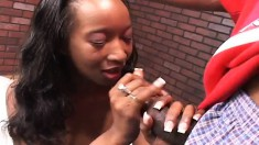 Ebony hottie gobbles up his dick and gets it shoved in her twat
