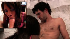 Ebony chews on his white dick and he bangs her in the bathroom