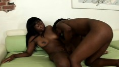 Mocha Deelite and China Doll lick and finger clit on the couch