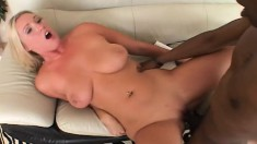 Stacked blonde loves to have a big black pole stretching her tight ass