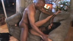 Kapri Styles is on the sofa getting her starving cunt drilled hard