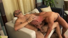 Bald headed stud reveals his oral skills and gets pounded in the ass