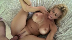 Stacked blonde cougar with a wonderful ass goes wild for a long shaft
