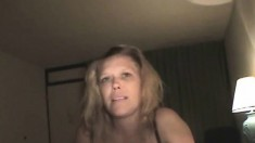 Nasty blonde hooker Krystal putting her mouth to work on a long shaft