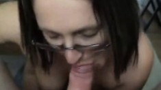 Brunette whore gives a pov blowjob