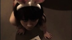Asian foot fetish and blowjob with cute teen nymph
