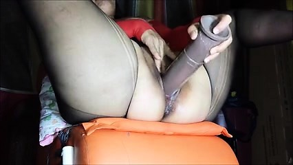 Busty bbw milf in stockings with toys
