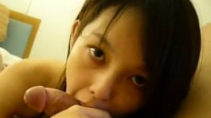 Hot chinese babe gives hot blowjob with her slutty mouth