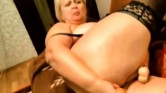 Fat Chubby Milf Stabbing Dildo In Her Fat Pussy On Webcam