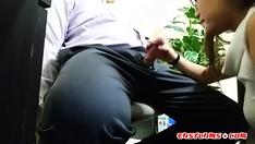 asian intern sucks off boss