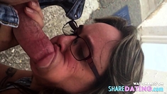 Sucking cock in the alley