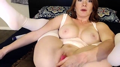 Huge Boobs on Mature in Stockings Stroking Pussy