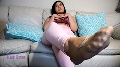 Chubby busty brunette in hot foot fetish