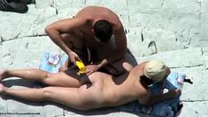 Public Handjob at Nude beach