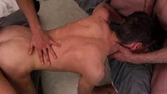 Gay stepdad anal fucks twink stepsons friend bareback